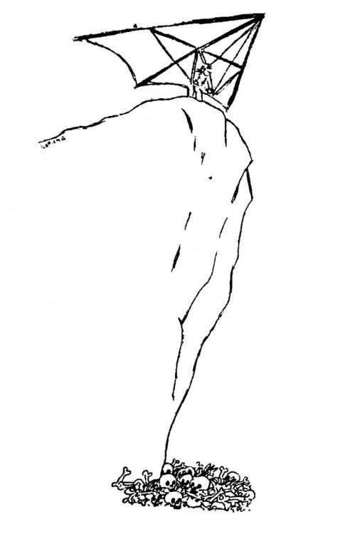 Малюнок  про дельтаплан, чорний журнал перець