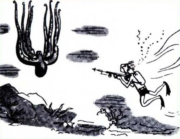 Малюнок  про восьминогів, водолазів журнал перець