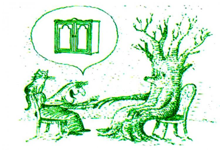 Малюнок  про ворожку, ворожіння, дерево журнал перець