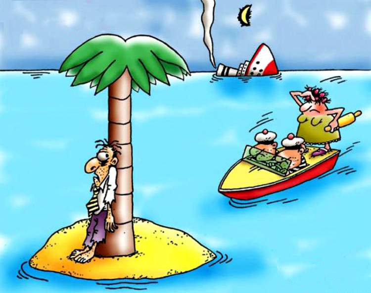Малюнок  про безлюдний острів, корабельну аварію, чоловіка, дружину та качалку