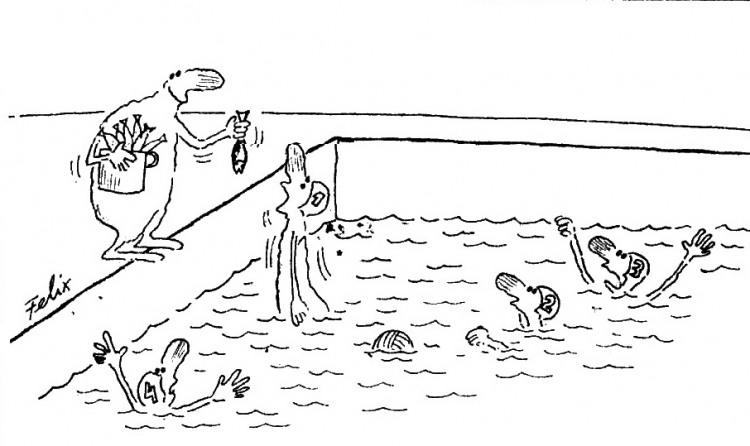 Малюнок  про басейн, спортсменів, рибу журнал перець