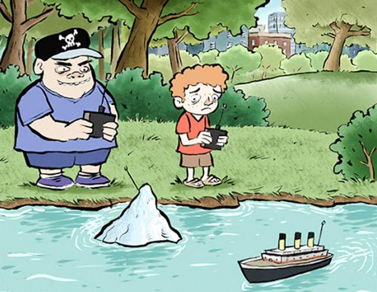 Малюнок  про дітей, айсберг та кораблі