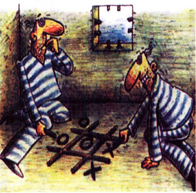 Малюнок  про арештантів, хрестики нулики, в'язницю журнал перець