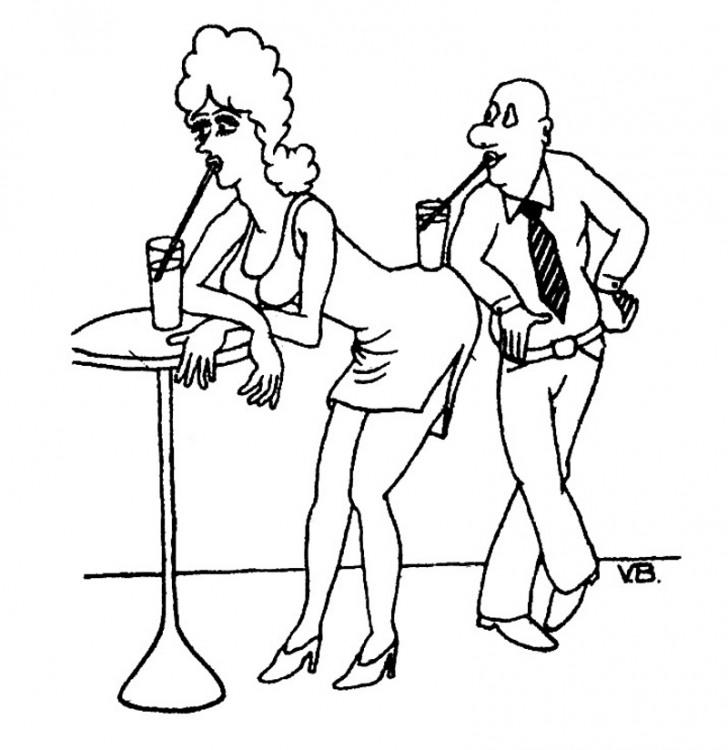 Малюнок  про чоловіків, жінок, коктейль журнал перець