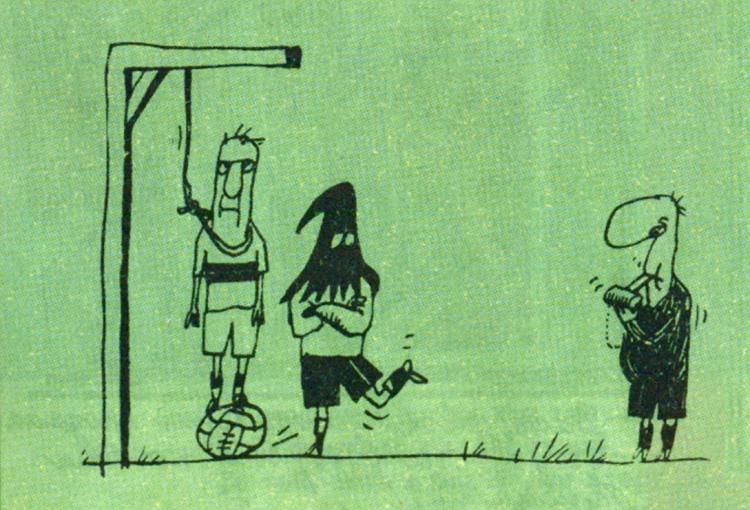 Малюнок  про футбол, страту, ката, чорний журнал перець