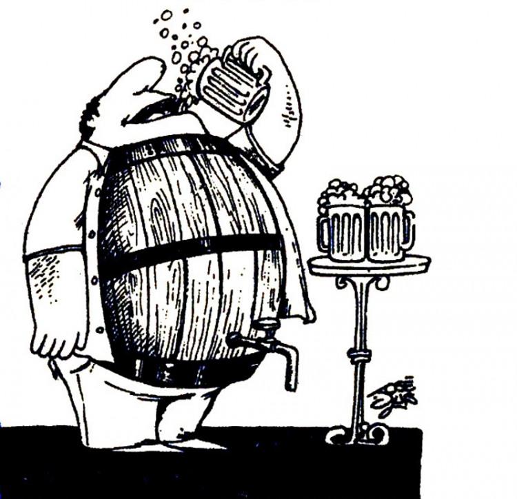 Малюнок  про живіт, пиво журнал перець
