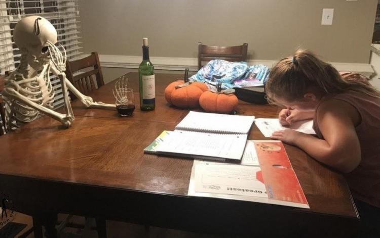Фото прикол  про дітей, домашню роботу, скелет чорний