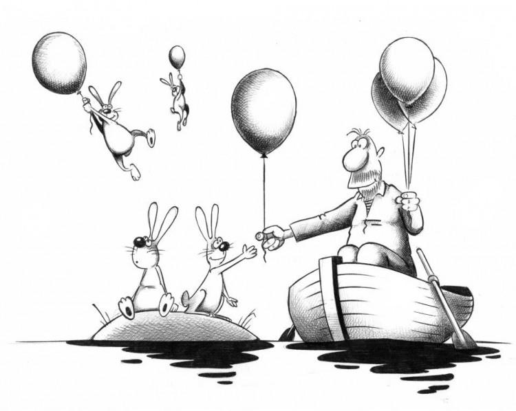 Малюнок  про герасима, зайців та кульки