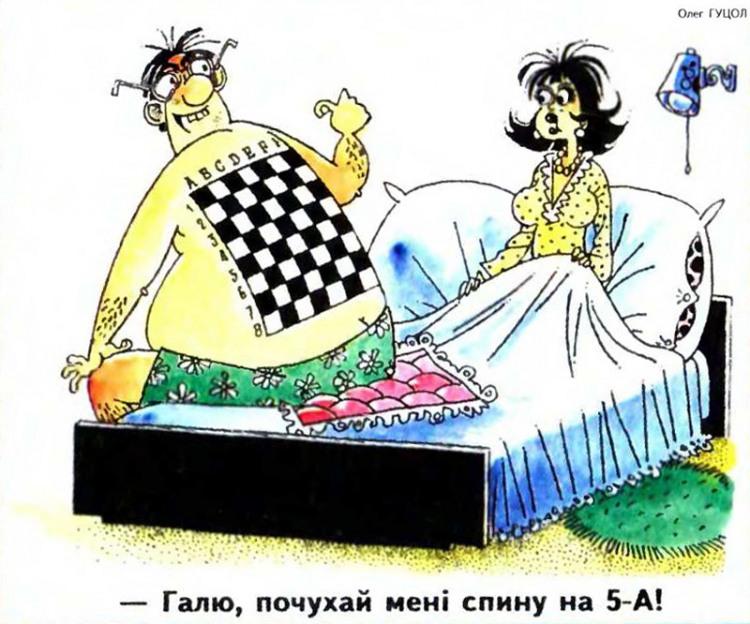 Малюнок  про спину, шахістів, чоловіка, дружину журнал перець