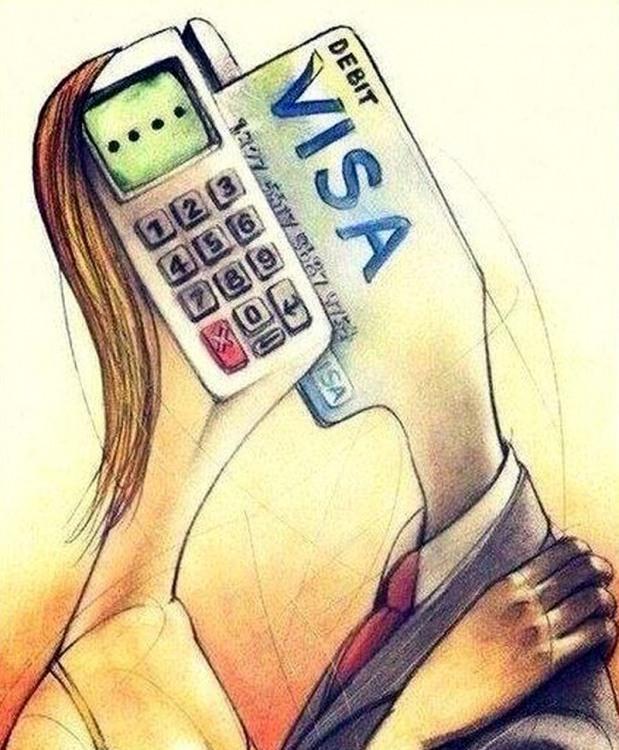 Малюнок  про кредитну карту, чоловіків, жінок та меркантильність