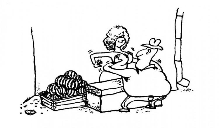Малюнок  про жіночі груди, кавун, вульгарний журнал перець