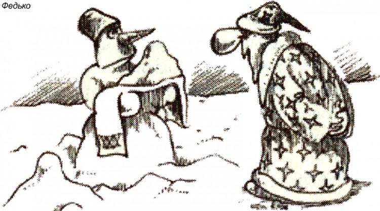 Малюнок  про сніговика, діда мороза журнал перець