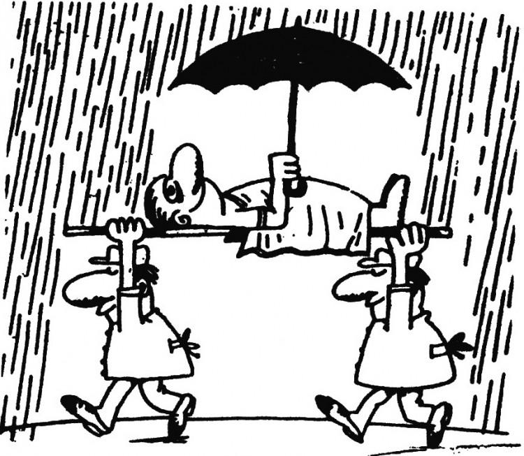 Малюнок  про дощ, парасольку, пацієнтів, санітарів журнал перець