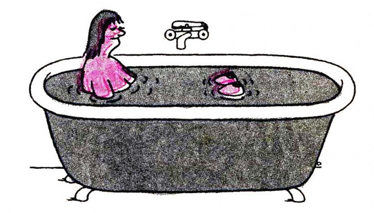 Малюнок  про ванну, жінок, вульгарний, гра уяви журнал перець