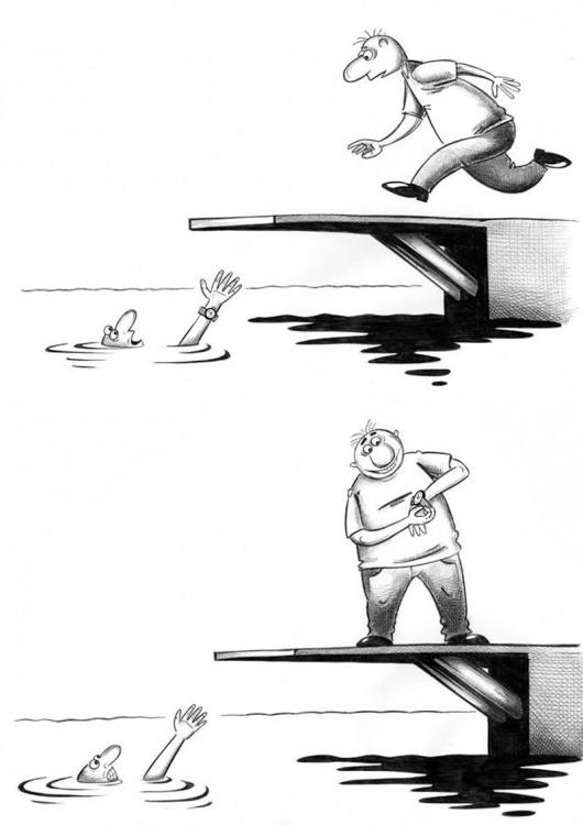 Малюнок  про потопаючих, годинник, крадіжку, чорний цинічний