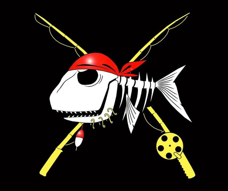 Малюнок  про герб, скелет та рибалок