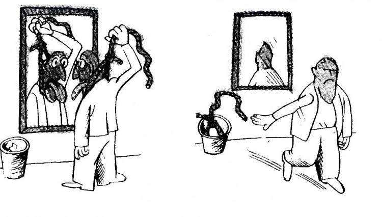 Малюнок  про мотузки, самогубство, дзеркало, чорний журнал перець