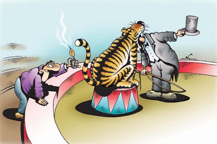 Малюнок  про цирк, тигра чорний