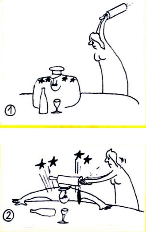 Малюнок  про чоловіка, дружину, військових, зірку, качалку, чорний журнал перець