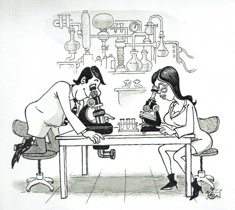 Малюнок  про вчених, мікроскоп та підглядання