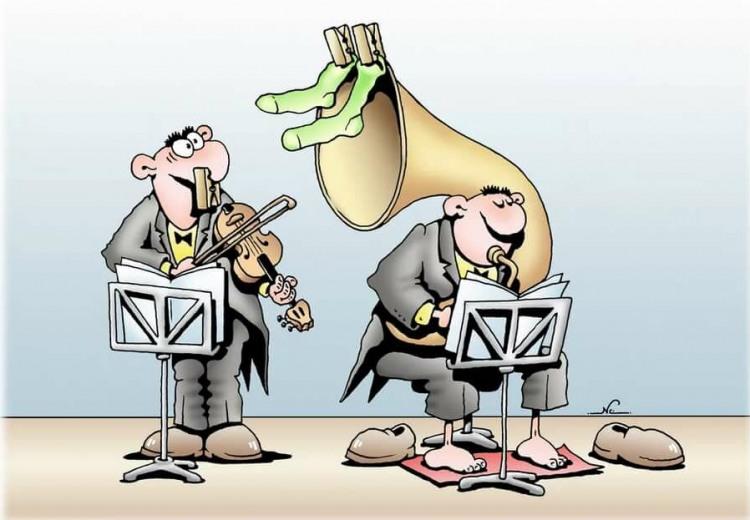 Малюнок  про музикантів, шкарпетки огидний