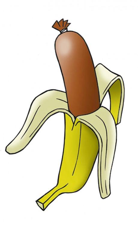 Малюнок  про банан, сосиски та хот дог