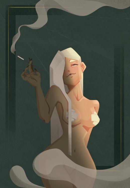 Малюнок  про дим, еротику вульгарний