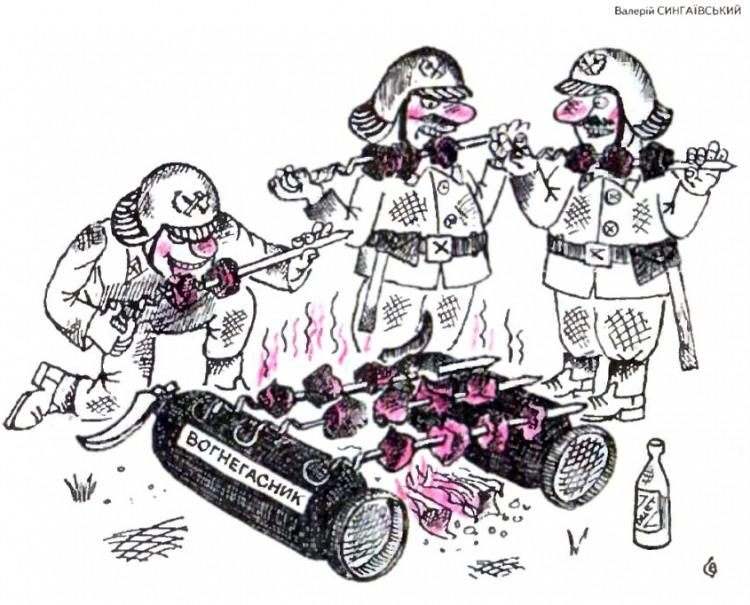 Малюнок  про пожежних, шашлик, вогнегасник журнал перець