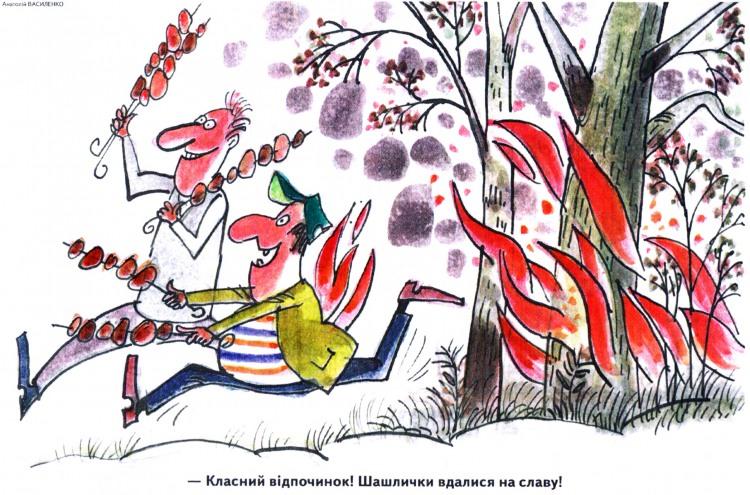 Малюнок  про шашлик, пожежу журнал перець