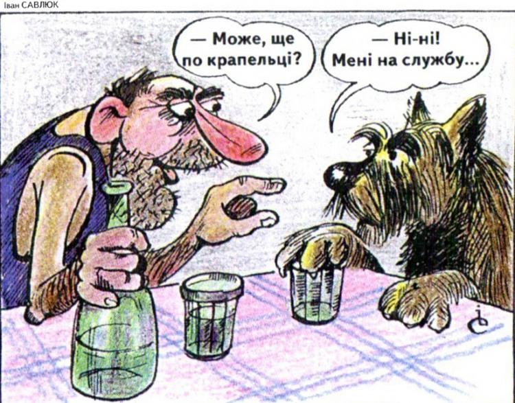 Малюнок  про алкоглоль, собак журнал перець