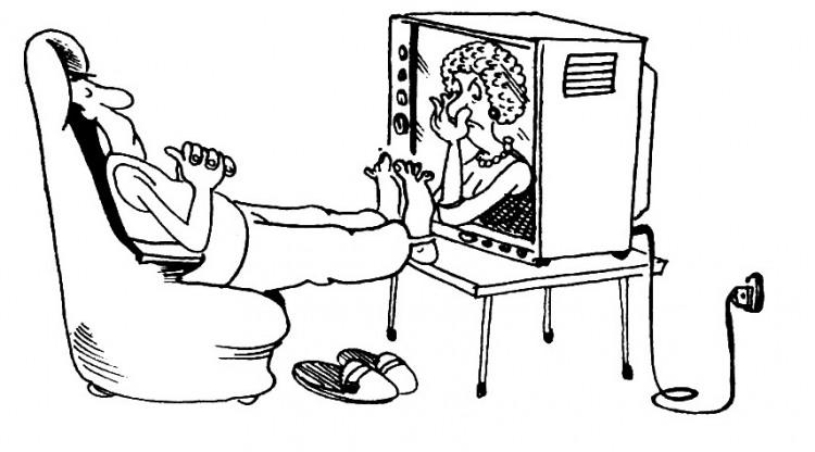 Малюнок  про ноги, сморід, телевізор журнал перець