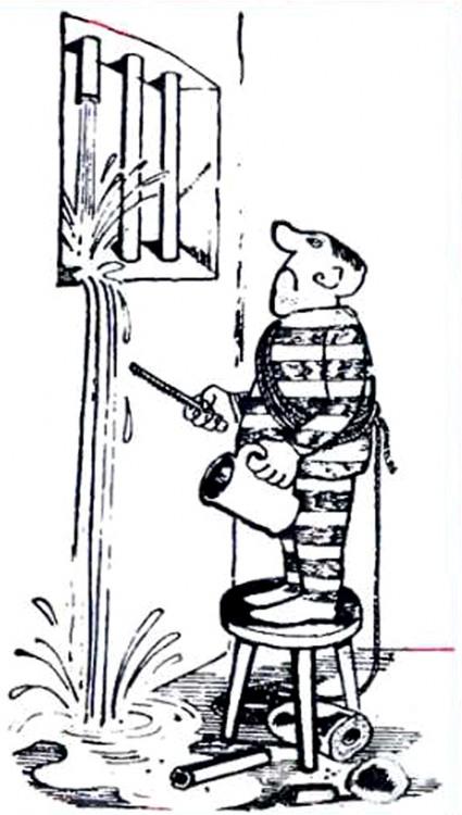 Малюнок  про в'язницю, арештантів, воду, втечу журнал перець