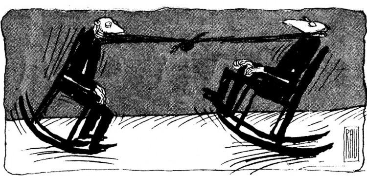 Малюнок  про бороду, крісло журнал перець