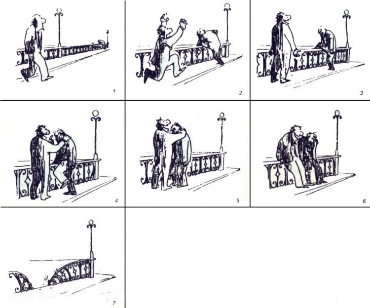 Малюнок  про самогубство, міст, комікс, чорний журнал перець