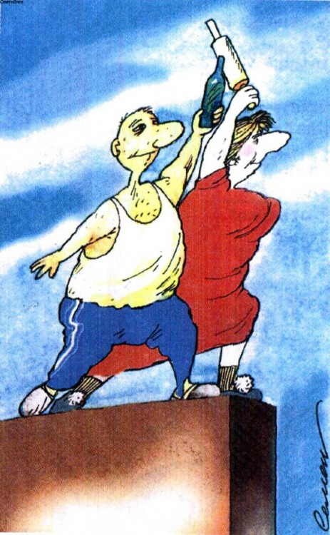 Малюнок  про чоловіка, дружину, пляшку, качалку журнал перець