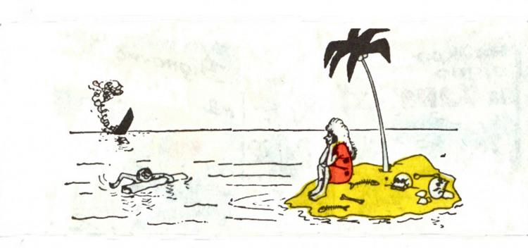 Малюнок  про безлюдний острів, жінок, корабельну аварію, канібалів, чорний журнал перець