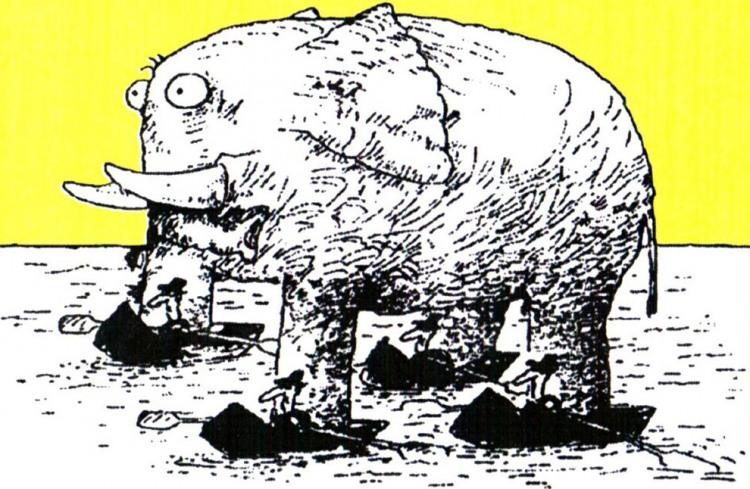 Малюнок  про слонів, човен журнал перець