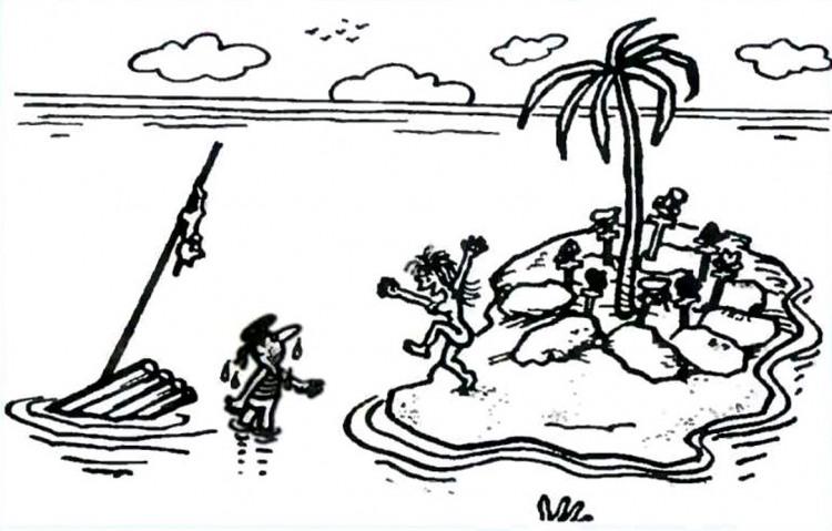 Малюнок  про безлюдний острів, чоловіків, жінок, кладовище, чорний журнал перець