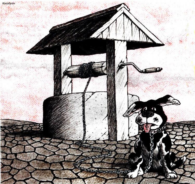 Малюнок  про колодязь, ланцюги, собак журнал перець