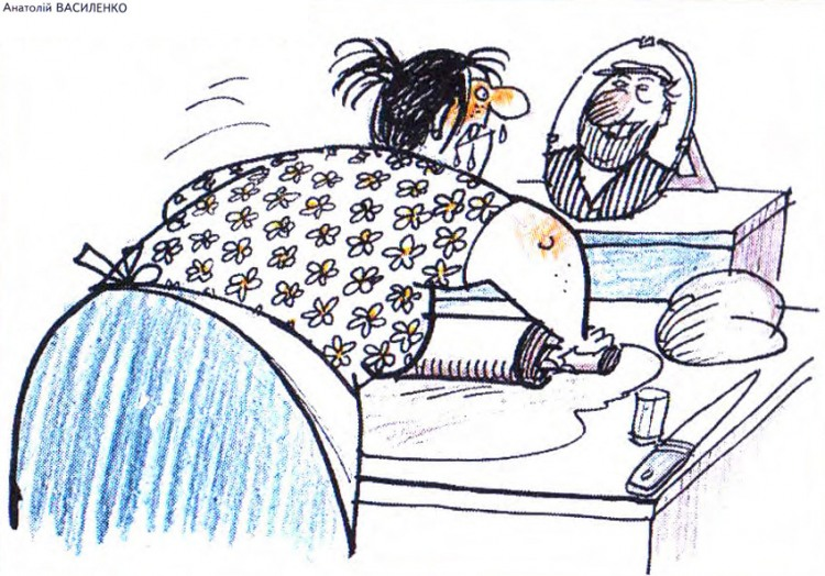 Малюнок  про чоловіка, дружину, качалку, злість, приготування їжі журнал перець
