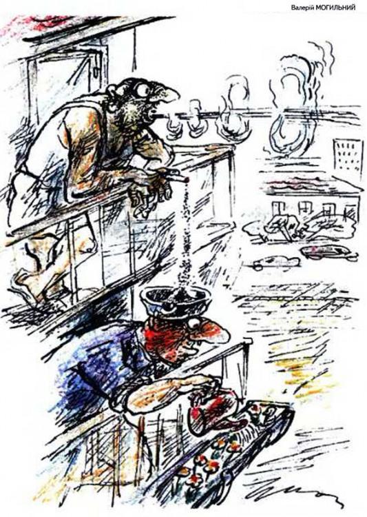 Малюнок  про паління, попіл, балкон журнал перець