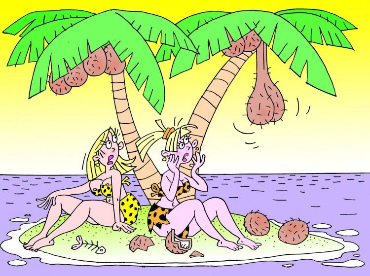 Малюнок  про безлюдний острів, жінок, кокос, вульгарний гра уяви