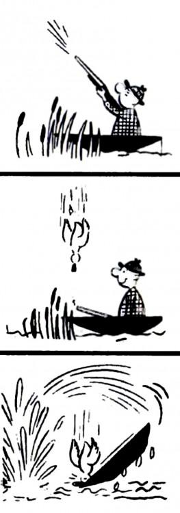 Малюнок  про полювання, човен, комікс, чорний журнал перець