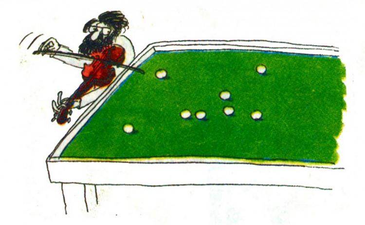 Малюнок  про скрипку, музикантів, більярд журнал перець