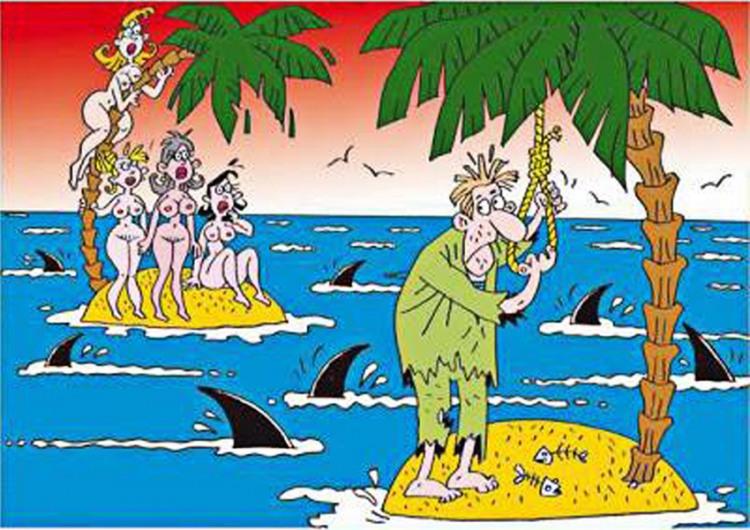 Малюнок  про безлюдний острів, самогубство, акул, вульгарний чорний