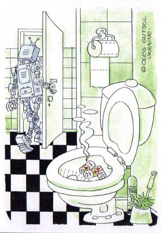 Малюнок  про роботів, унітаз, батарейки огидний