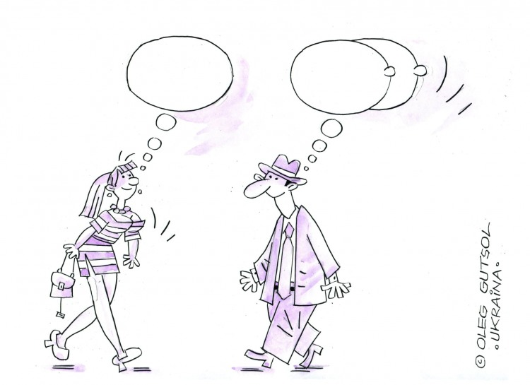 Малюнок  про чоловіків, жінок, думки вульгарний