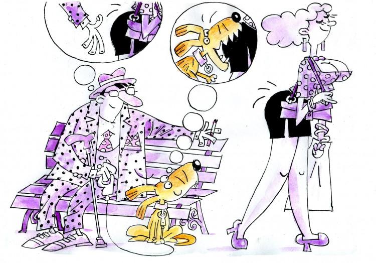 Малюнок  про чоловіків, жінок, собак, сідниці, укус вульгарний