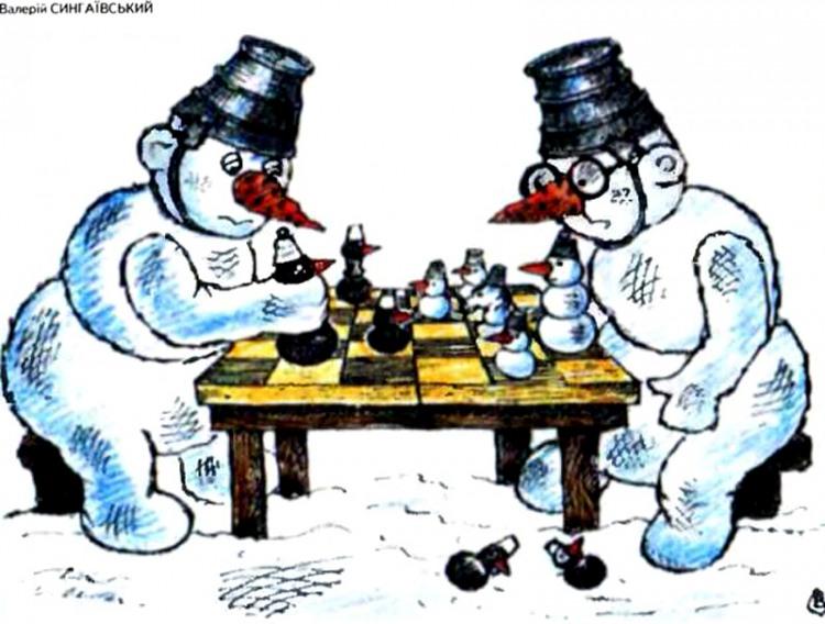 Малюнок  про сніговика, шахи журнал перець