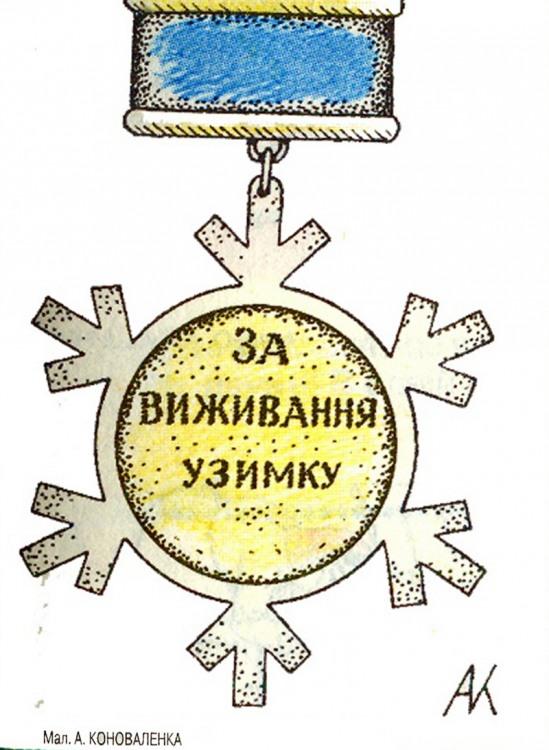 Малюнок  про медаль, зиму, виживання, чорний журнал перець